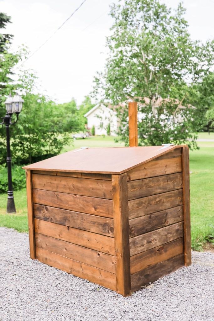 How to Build an Outdoor Garbage Box; a do it yourself guide for building a garbage box storage unit. Free up room in your garage and sheds with this easy to follow garbage storage plan.