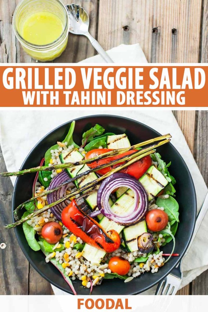 10 salad recipes for fast weight loss: Grilled Veggie Salad with Tahini Dressing