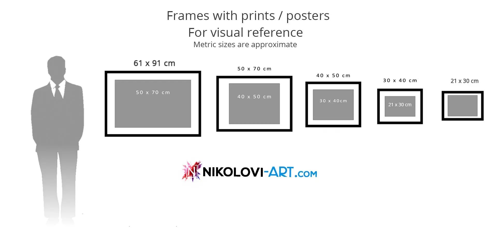 different sizes of artworks in cm and