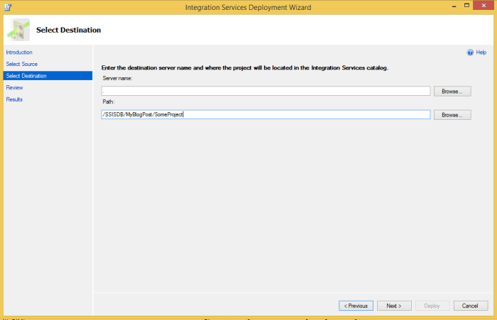 SSIS Project Deployment - Select Destination
