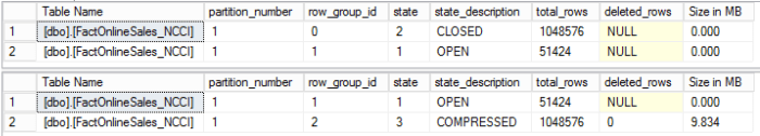Compression Delay - CISL RowGroupsDetails results without Delay