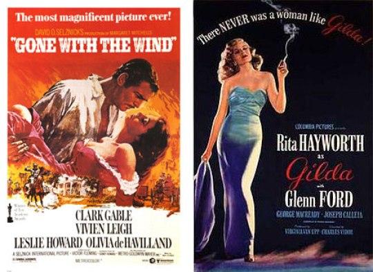 1939: Gone With the Wind Ε, καλά! Η πιο χαρακτηριστική αφίσα του σινεμά. Δεν χρειάζονται πολλά λόγια. 1946: Gilda Μόνο η Rita Hayworth έφτανε για αυτήν την αφίσα. Τέλος!