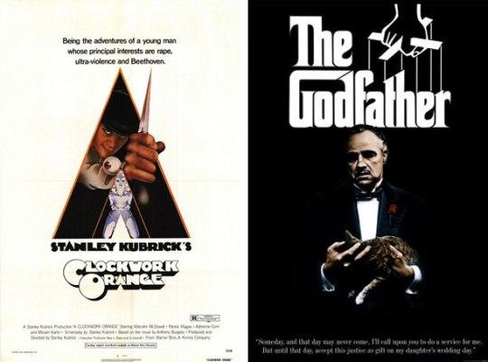 1971: A Clockwork Orange Μια αφίσα που την αναγνωρίζουμε από χιλιόμετρα μακριά. Η καλύτερη των καλυτέρων. 1972: The Godfather Άλλη μία αξέχαστη αφίσα. Το λογότυπο, τα σχοινάκια της μαριονέτας και το εμβληματικό πρόσωπο του Marlon Brando την έκαναν αξέχαστη.