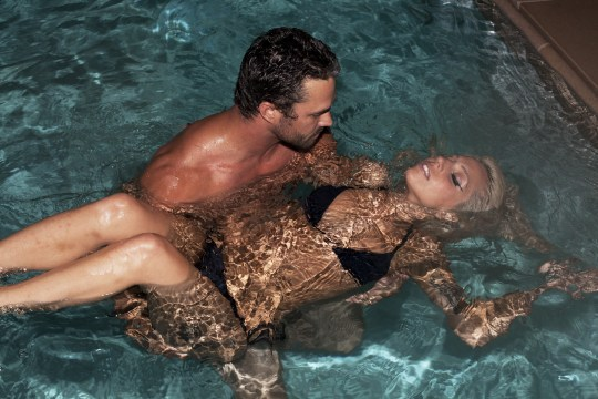 EXCLUSIVE: Lady Gaga and Taylor Kinney in swimming pool at the Beverly Hills Hotel. Pictured: Lady Gaga and Taylor Kinney Ref: SPL456573 020911 EXCLUSIVE Picture by: bo / Splash News Splash News and Pictures Los Angeles: 310-821-2666 New York: 212-619-2666 London: 870-934-2666 photodesk@splashnews.com