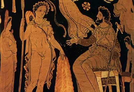 Ο Ιάσονας παραδίδει το χρυσόµαλλο δέρας στον Πελία. Από αρχαίο ελληνικό αγγείο.