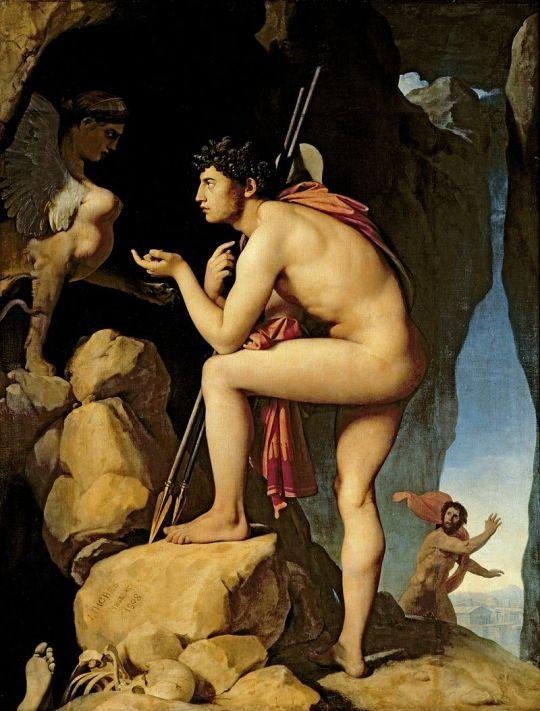 Ο Οιδίποδας λύνει το αίνιγμα της Σφίγγας, του Ζαν Ωγκύστ Ντομινίκ Ενγκρ 1808