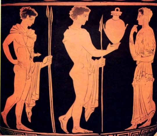 Orestes_Hlectra_PyladesΟ Ορέστης φέρνει στην Ηλέκτρα, δεξιά του, την υδρία που δήθεν περιέχει τη στάχτη του.