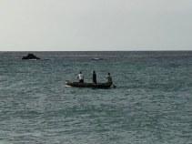 Die Fischer sammeln das Abendessen ein.