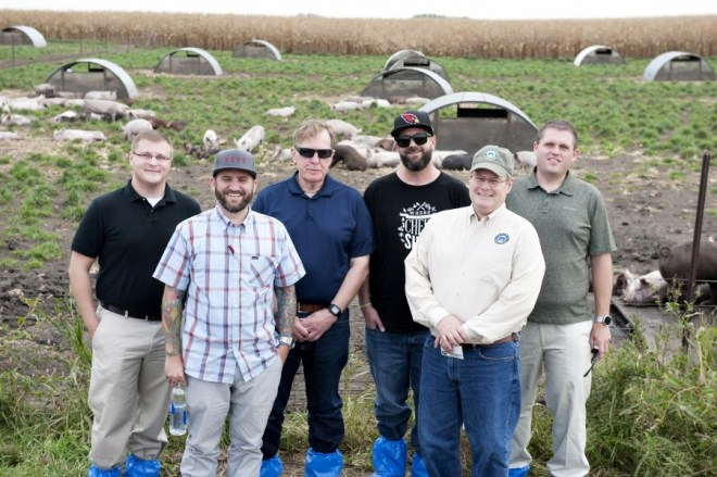 Chef Keith Tyger, far right, with other guests during the 2015 Niman Ranch Farmer Appreciation Dinner farm tour.