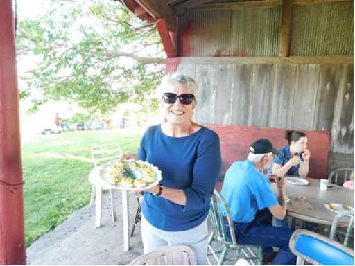 Joyce Lock, creator of Foodie Fight, at the Farmer Picnic on the Prairie.