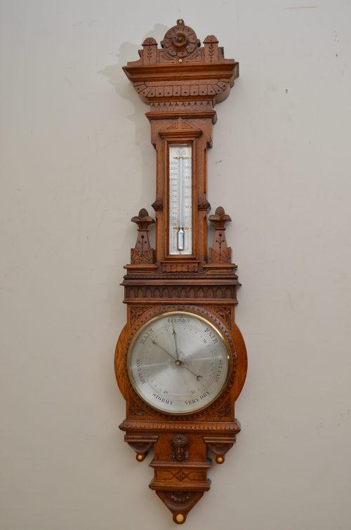 Victorian Aneroid Barometer in Oak
