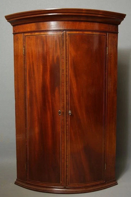 Excellent Regency Mahogany and Inlaid Corner Cupboard