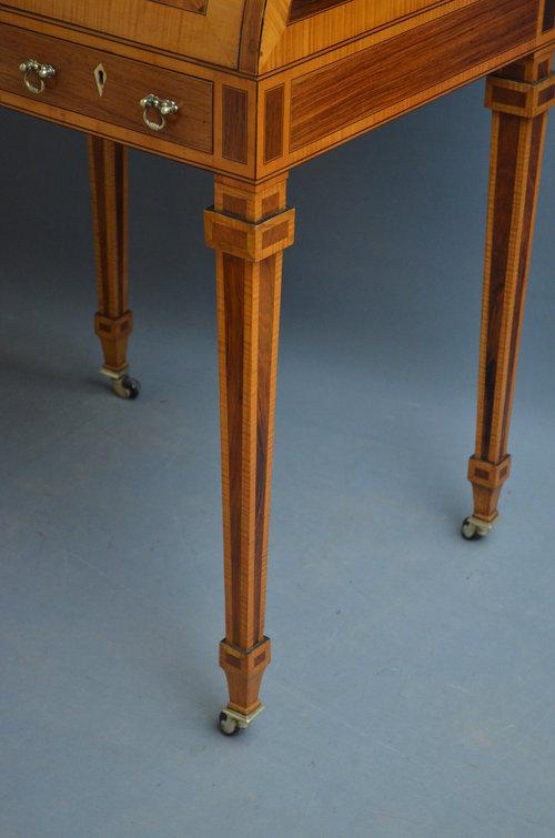 Sheraton Revival Rosewood Cylinder Bureau