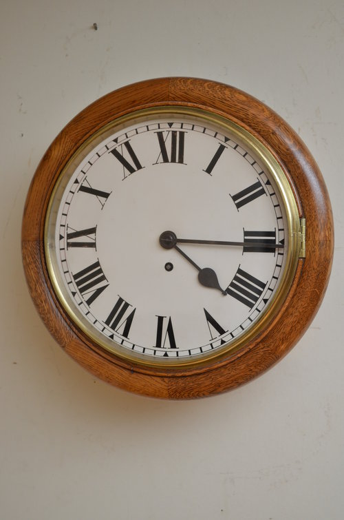 "Late Victorian Oak 12"" Fusee Wall Clock"
