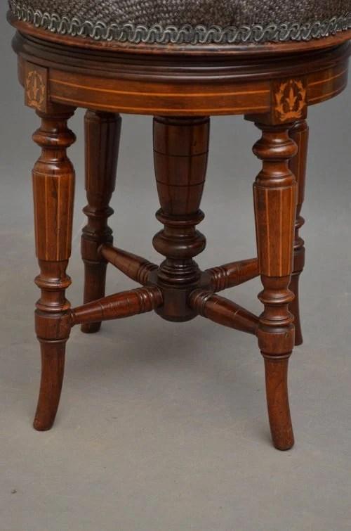 Victorian Mahogany and Inlaid Piano Stool