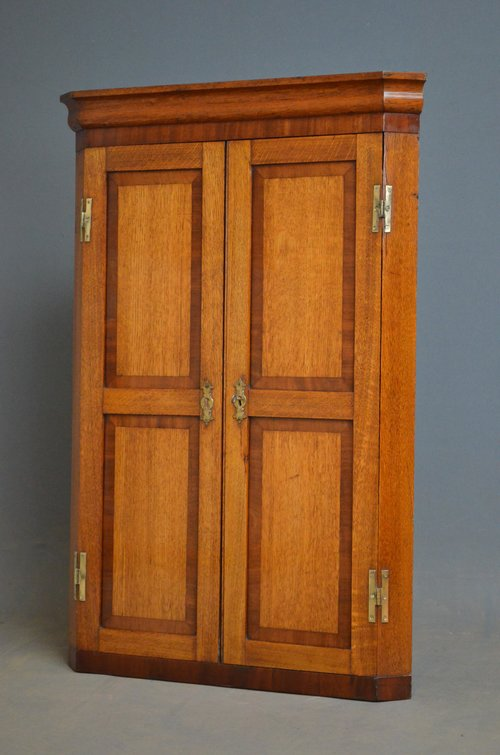 An Attractive Victorian Oak Corner Cupboard