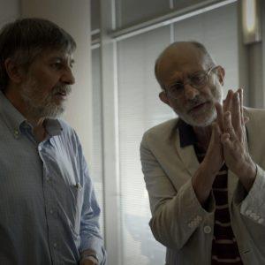 Frosconi insieme a Felice Farina nel film documentario Conversazioni Atomiche