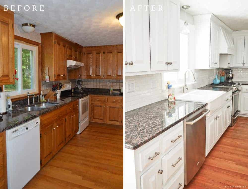 DIY White Painted Kitchen Cabinets Reveal