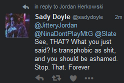 Sady Lying about Being a Bigot