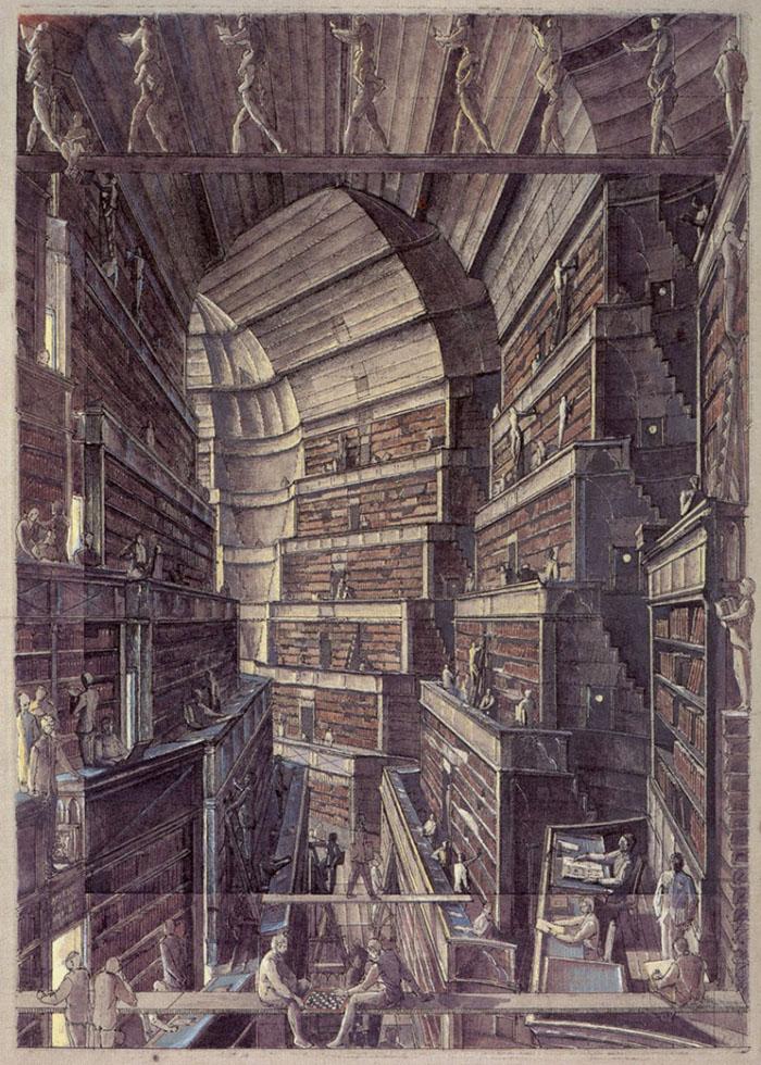 multiplicidad-calvino-biblioteca de babel-erik desmaziéres