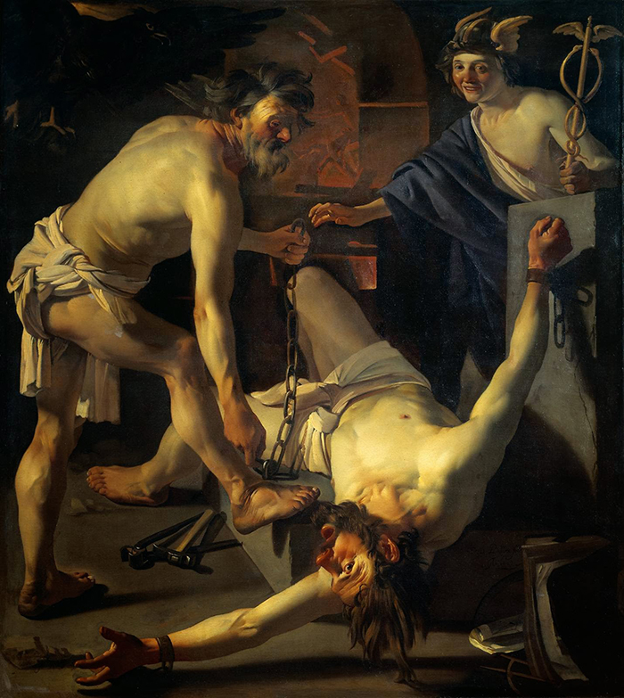 Vulcano encadenando a Prometeo-Dirk Van Bauren