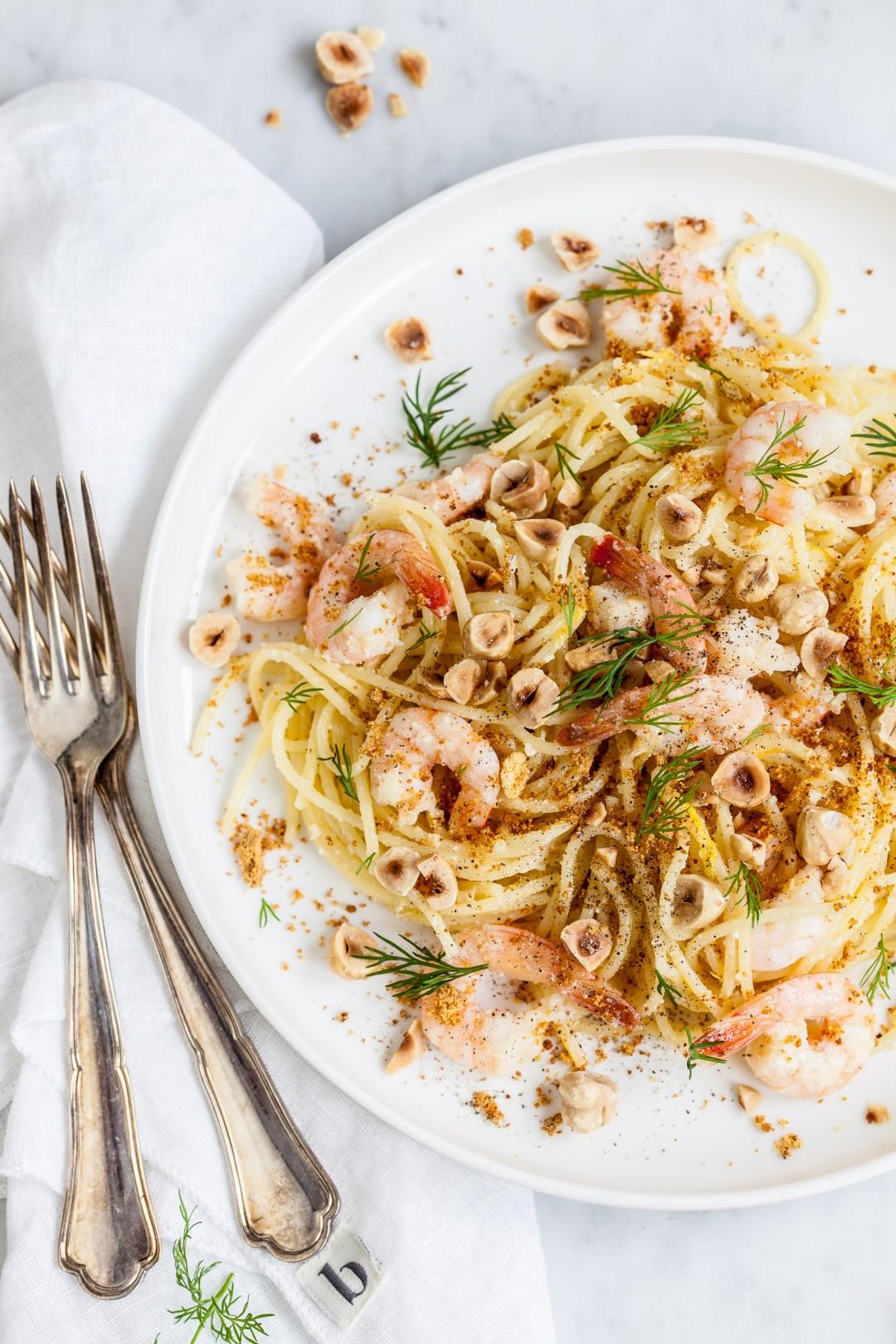 Spaghettini met garnalen en gebruinde boter