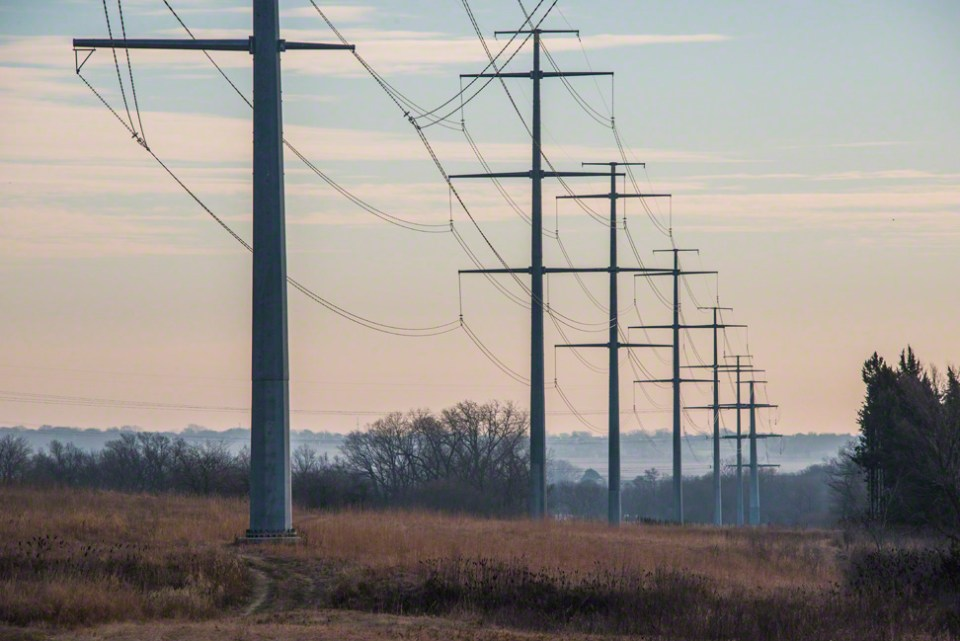 Lincoln Electric System's Power Lines Along the South Border