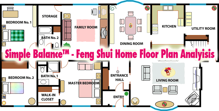 Simple balance feng shui home floor plan analysis for Feng shui for building new house