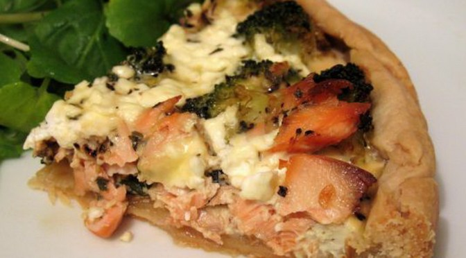 Low Fat Salmon and Broccoli Quiche