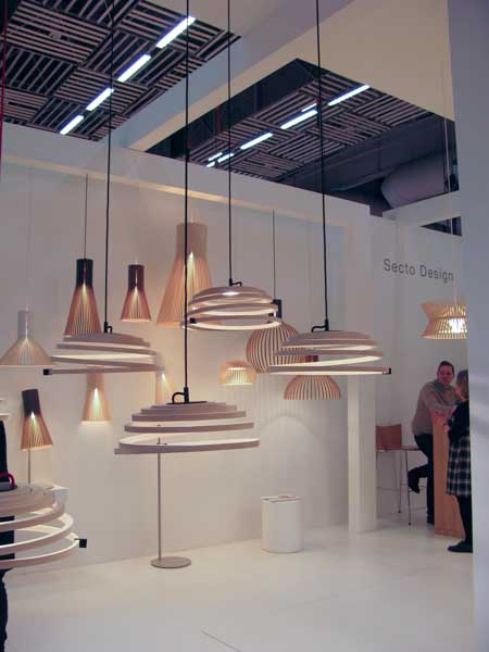 Ceiling lamps in wood.