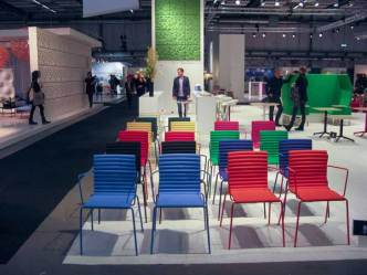 Colorful chairs for audience halls or similar.