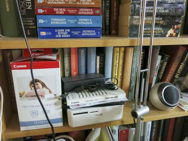 bookcase, printer