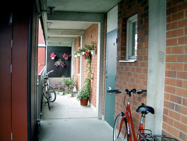 The outside corridor.