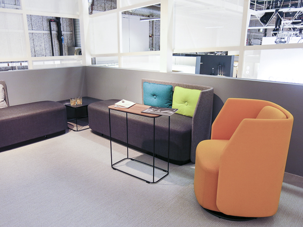 I like this grey basis with colorful details for office environments