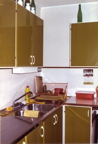 Very olive green doors to the cupboards.