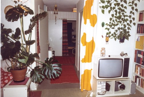 The dividing white and yellow curtain was from Marimekko. Don't remember what happened to that cloth.
