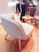 Triangular and rounded chair.