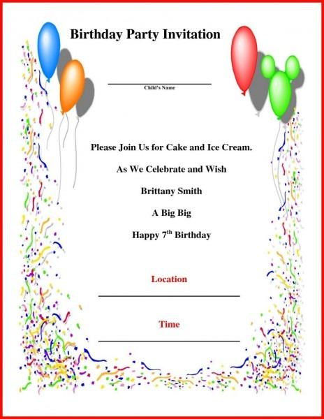 birthday invitation letter in english