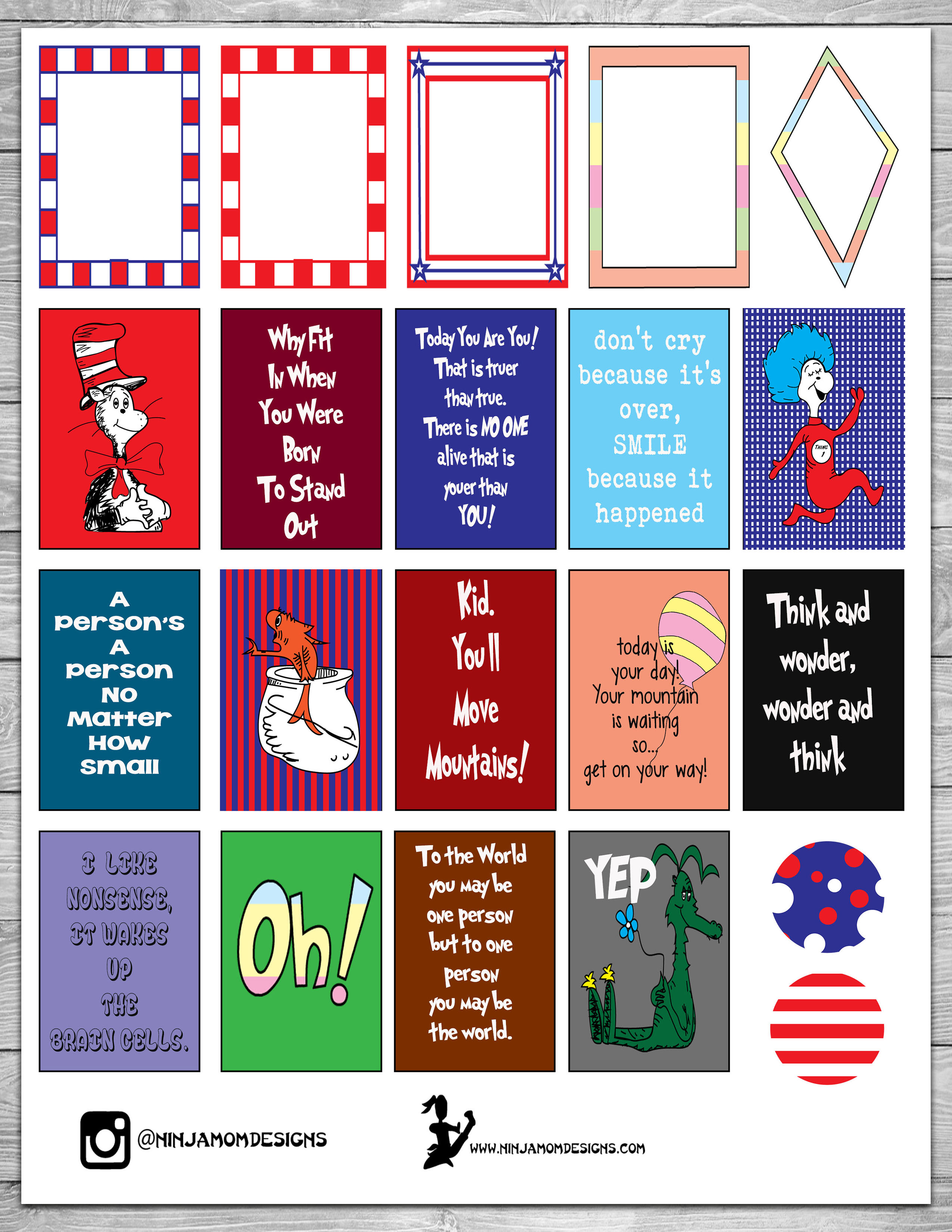 Free Seussy Quotes Planner Sticker Printable