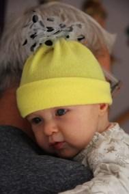Bonnet bébé jaune tulle