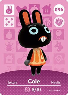 Cole amiibo Card (No  96 Animal Crossing Collection – Series