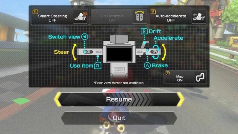 Mario Kart 8 Deluxe Nintendo Labo Control Scheme Screenshot