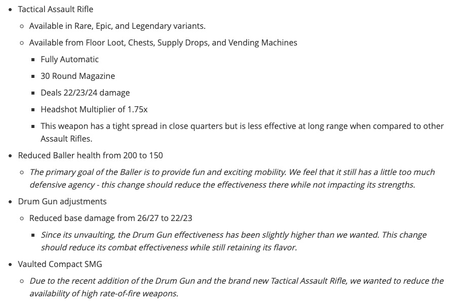 Fortnite Update 9.01 Patch Notes Screenshot 1