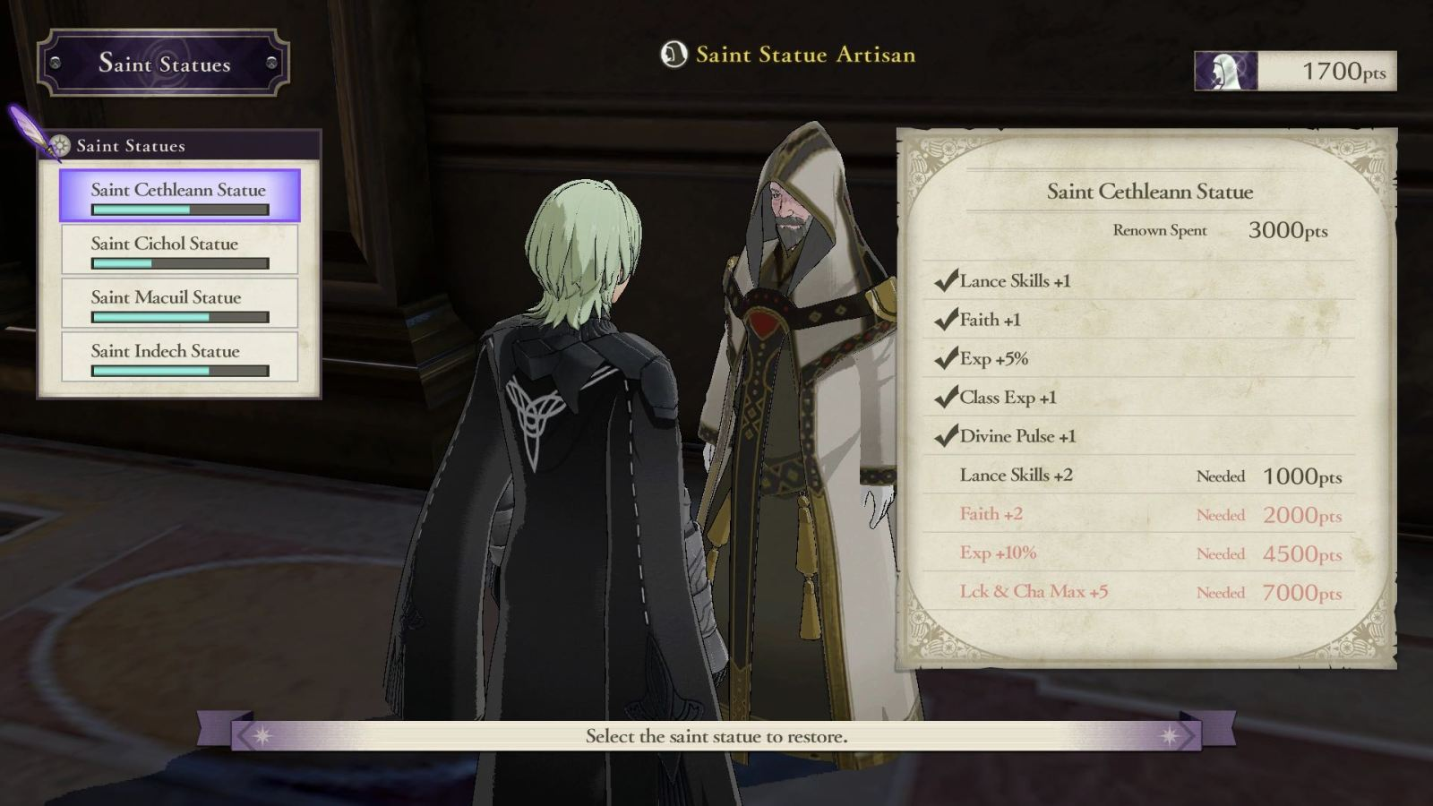 Fire Emblem: Three Houses Saint Statue Artisan Screenshot