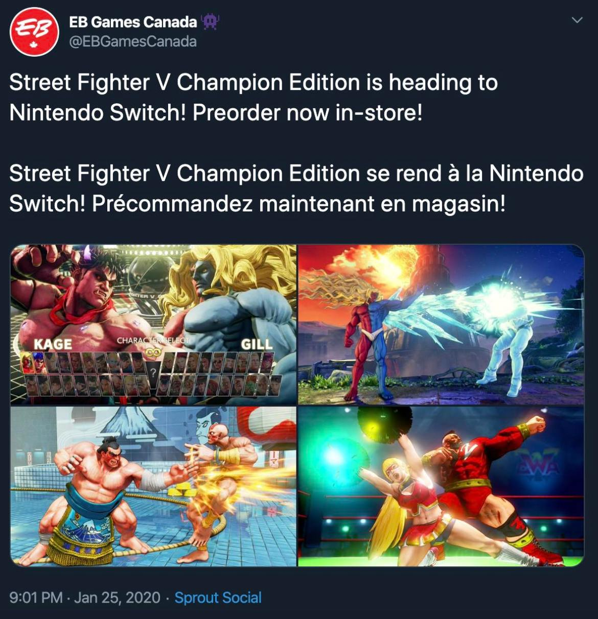 EB Games Canada Street Fighter V Champion Edition Tweet