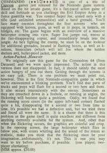 Commando Review - Computer Entertainer - December 1986