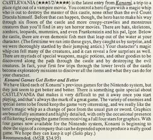 Castlevania Review - Computer Entertainer - June 1987 - pg13