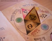 Elements: The center triangle folds up to form a tetrahedron, revealing the imagery hidden beneath it.