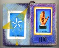 Estrela and Base Five: Collage, gouache, silver acrylic, and gold gel pen - 2006.