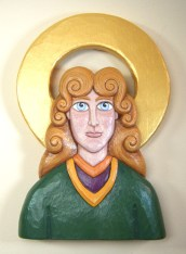St. Brigid carving in basswood with painted finish.